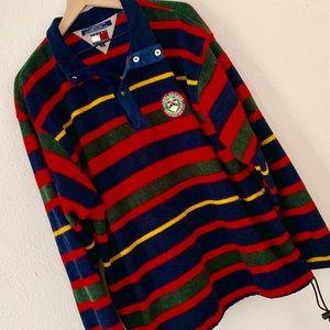 Vintage Striped Tommy Hilfiger Fleece Pullover L